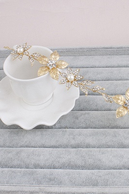 Floral Alloy &Imitation Pearls Daily Wear Hairpins Headpiece with Rhinestone_3
