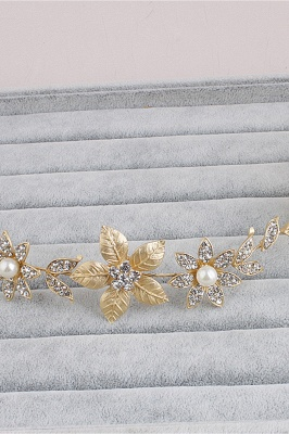 Floral Alloy &Imitation Pearls Daily Wear Hairpins Headpiece with Rhinestone_6
