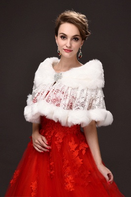 Fashion Tulle White Half-Sleeves Casual Bride Wedding Wraps with Crystal_1