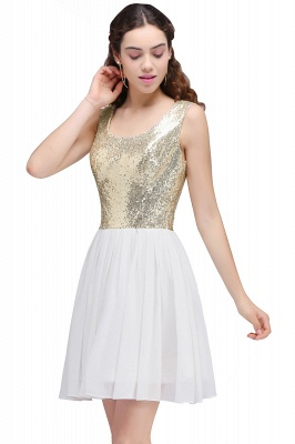 CAROLYN | A-line Scoop Short Sequins White Cute Homecoming Dresses with Sequins_5