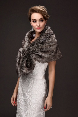 Fashion Warm Ruffle Tulle  Silver Half-Sleeves Casual Wraps_3