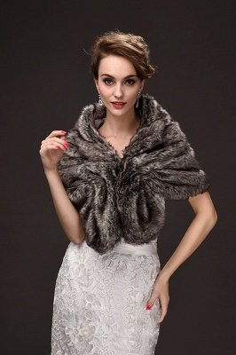 Fashion Warm Ruffle Tulle  Silver Half-Sleeves Casual Wraps_4