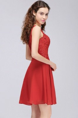 CASEY | A-line Short Chiffon Red Homecoming Dresses with Lace Appliques_4