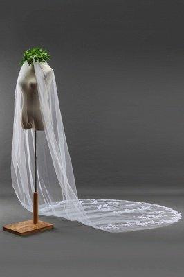 Élégant cathédrale Tulle festonné Bord gants de mariage avec Appliques_4