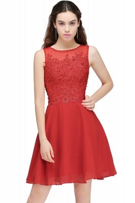 CASEY | A-line Short Chiffon Red Homecoming Dresses with Lace Appliques_2