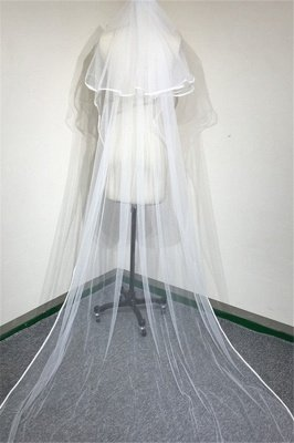 Floral Cute Tulle Lace Ribbon Edge Wedding Veil with Comb