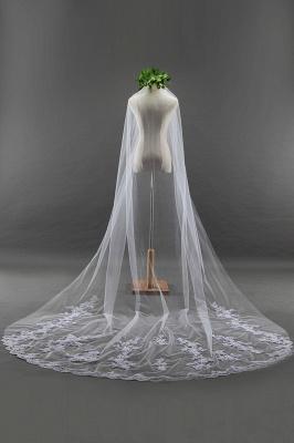 Élégant cathédrale Tulle festonné Bord gants de mariage avec Appliques_3