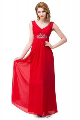 HANNAH | A-line V-neck Knee-length Ruffle Red Bridesmaid Dresses With Crystal_4
