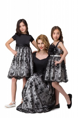 HEATHER| A-line Short Bowknot Flower Black Lace Mother Daughter Dresses_8