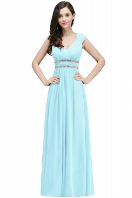 ALISON | Gaine col v en mousseline de soie bordeaux longues robes de soirée avec des perles_4