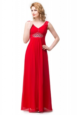 HANNAH | A-line V-neck Knee-length Ruffle Red Bridesmaid Dresses With Crystal_7