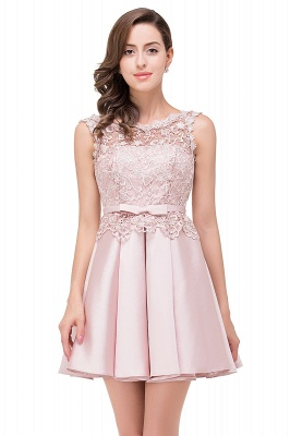 ADELAIDE | A-line Knee-length Satin Homecoming Dress with Lace_2