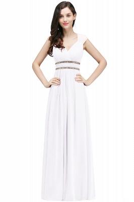 ALISON | Gaine col v en mousseline de soie bordeaux longues robes de soirée avec des perles_1