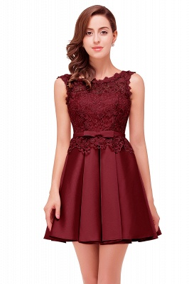ADELAIDE | A-line Knee-length Satin Homecoming Dress with Lace_4