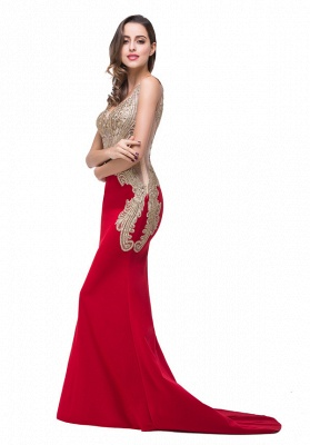 GRACE | Mermaid V-Neck Sweep-length Red Formal Dresses With Applique