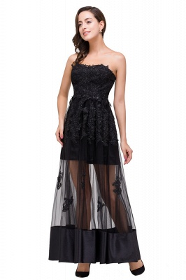 GWENDOLYN | Sexy A-line Strapless Knee-length Lace-Up Black Prom Dresses With Applique_4