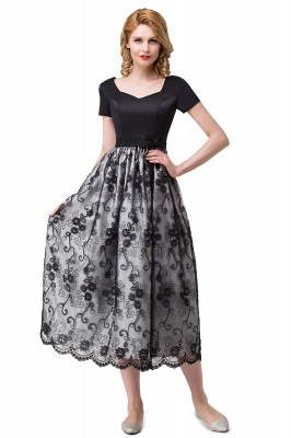 HEATHER| A-line Short Bowknot Flower Black Lace Mother Daughter Dresses_7