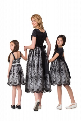 HEATHER| A-line Short Bowknot Flower Black Lace Mother Daughter Dresses_3