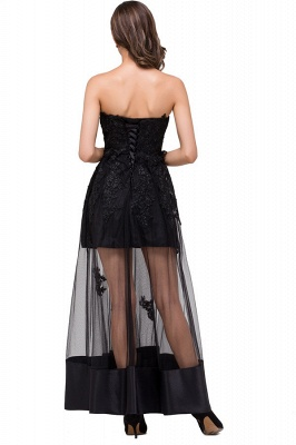 GWENDOLYN | Sexy A-line Strapless Knee-length Lace-Up Black Prom Dresses With Applique_3