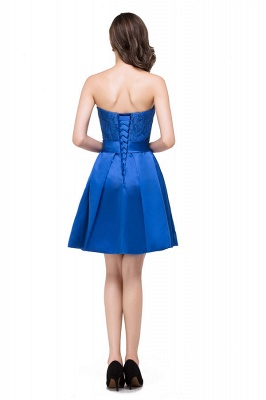 HANA | A-line Strapless Mini Lace-up Sashes Bridesmaid Dresses With Applique_3