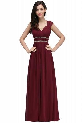 ALISON | Mantel V-Ausschnitt Burgund Chiffon lange Abendkleider mit Perlen_10