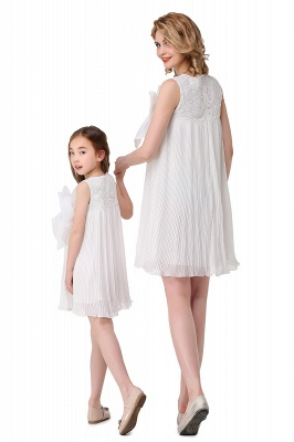 HELENA | A-line Mini Chiffon Jewel Strapless Bowknot Lace Mother Daughter Dresses_3