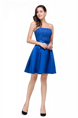 HANA | A-line Strapless Mini Lace-up Sashes Bridesmaid Dresses With Applique_5