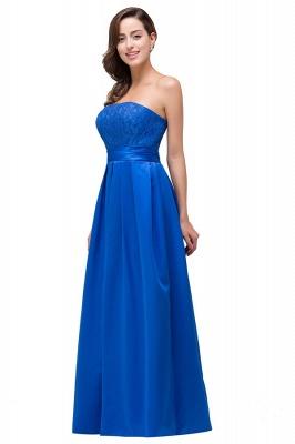 Elegantes A-linie Meerblau Bodenlangen Spitze Brautjungfernkleider | Brautjungfernkleider Mit Applikation_5