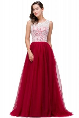 HANNA   A-line Crew Sweep-length Lace Chiffon Burgundy Bridesmaid Dresses With Button_6