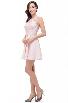 Pearl Pink Cute A-line Crew Mini Bridesmaid Dresses With Applique