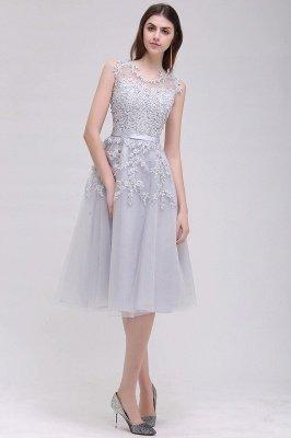 ЭМИРА | A-Line Crew Tea Length Кружева Appliques Короткие платья выпускного вечера_10