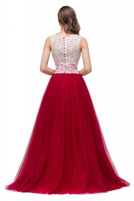 HANNA   A-line Crew Sweep-length Lace Chiffon Burgundy Bridesmaid Dresses With Button_4