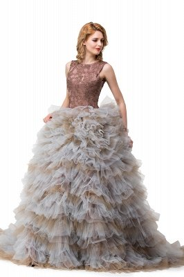 HEAVEN  Ball Gown Court Train Jewel Sleeveless Tulle Embroidery Mother Daughter Dresses_5