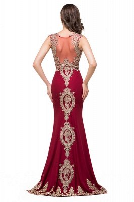 HADASSAH | Mermaid Crew Sweep-length Burgundy Formal Dresses With Applique_3