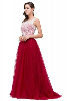 HANNA   A-line Crew Sweep-length Lace Chiffon Burgundy Bridesmaid Dresses With Button_7