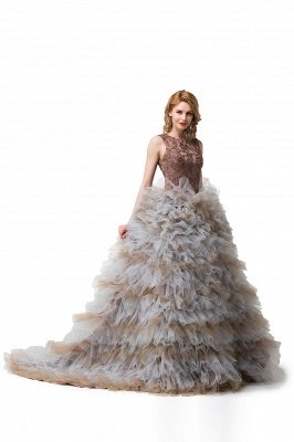 HEAVEN| Ball Gown Court Train Jewel Sleeveless Tulle Embroidery Mother Daughter Dresses_6