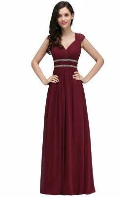 ALISON | Sheath V Neck Burgundy Chiffon Long Evening Dresses With Beads_9