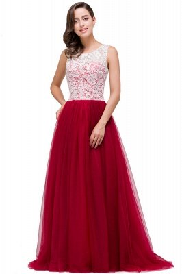 HANNA   A-line Crew Sweep-length Lace Chiffon Burgundy Bridesmaid Dresses With Button_8