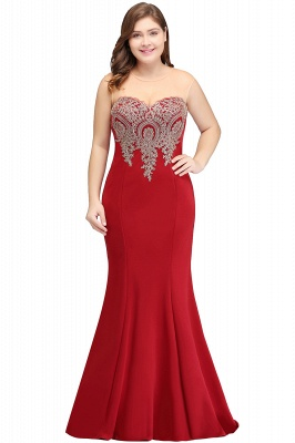 INGRID | Mermaid Crew Illusion Long Sleeveless Burgundy Plus size Formal Dresses with Appliques_1