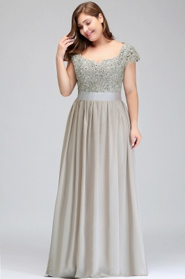 HOLLAND   A-Line Scoop Floor Length Cap Sleeves Appliques Silver Evening Dresses with Sash_11