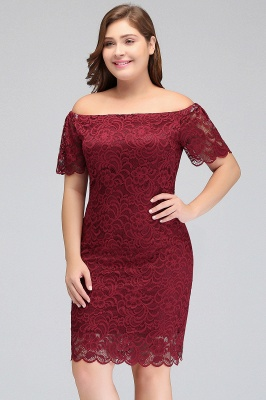 JAYDA | Mermaid Off-Shoulder Short Lace Burgundy Plus size homecoming Dresses with Sleeves_4