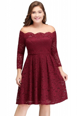 JASMIN | A-Line Off-Shoulder Short Lace Burgundy Plus size homecoming Dresses_1