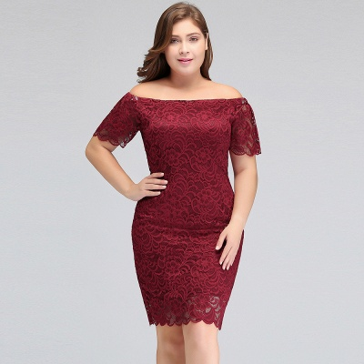JAYDA | Mermaid Off-Shoulder Short Lace Burgundy Plus size homecoming Dresses with Sleeves_9