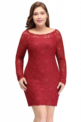 JANELLE | Sheath Scoop Short Long Sleeves Plus size homecoming Dresses Lace Burgundy_1