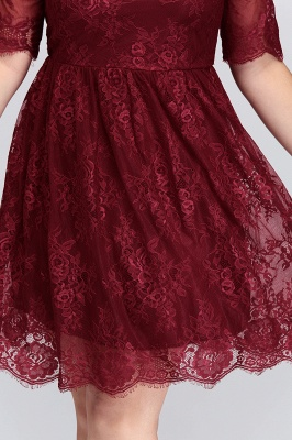 B-JASMINE | A-Line Crew Half Sleeves Lace Burgundy Plus size homecoming Dresses_10