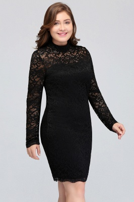 JANE | Mermaid Crew Short Long Sleeves Lace Black Plus size homecoming Dresses_7