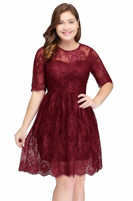B-JASMINE | A-Line Crew Half Sleeves Lace Burgundy Plus size homecoming Dresses_1