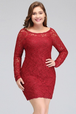 JANELLE | Sheath Scoop Short Long Sleeves Plus size homecoming Dresses Lace Burgundy_7