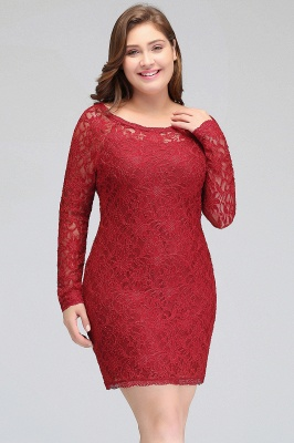 JANELLE | Sheath Scoop Short Long Sleeves Plus size homecoming Dresses Lace Burgundy_6