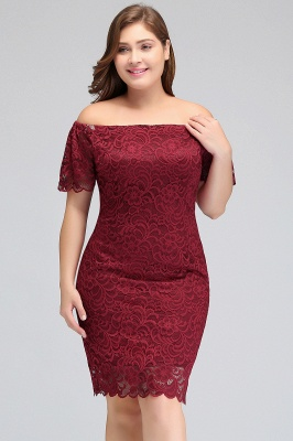 JAYDA | Mermaid Off-Shoulder Short Lace Burgundy Plus size homecoming Dresses with Sleeves_6